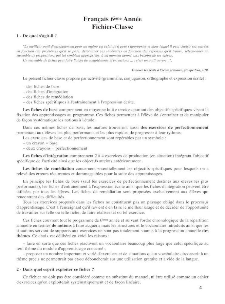 Fichier Classe Francais 6eme Annee Enseignement De Base